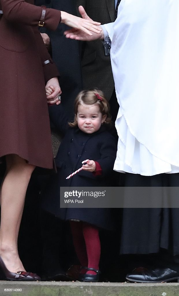 Princess Charlotte of Cambridge leaves following the service at St Mark's Church on Christmas Day on December 25, 2016 in Bucklebury, Berkshire.