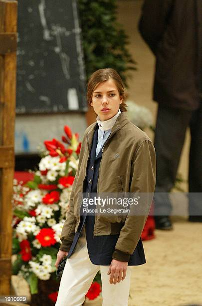 Princess Charlotte of Monaco concentrates before the Friends Cup race at the 9th International Jumping show April 10 2003 in Monte Carlo The...