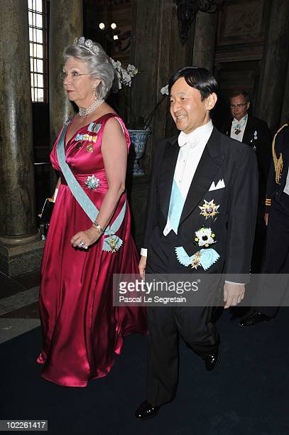Princess Christina of Sweden and Crown Prince Naruhito of Japan attend the Wedding Banquet for Crown Princess Victoria of Sweden and her husband...