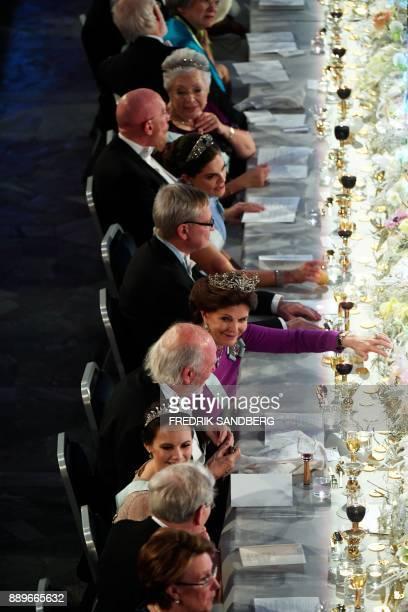 Princess Christina of Sweden Kip S Thorne Laureate in Physics 2017 Crown princess Victoria of Sweden CarlHenrik Heldin chariman of the Nobel...