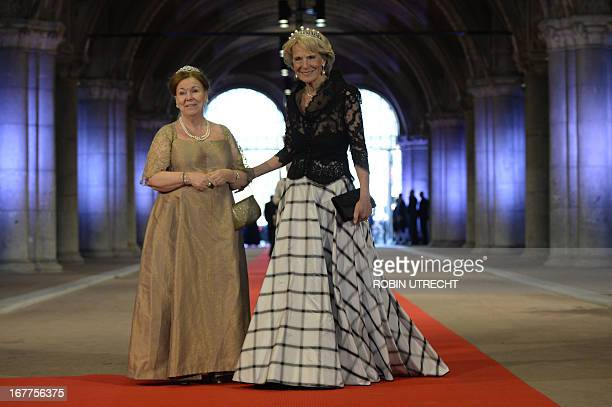Princess Christina of the Netherlands and Princess Irene of the Netherlands arrive on April 29 2013 to attend a dinner at the National Museum in...