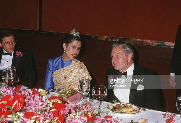 Princess Chula and David Rockefeller during The Gala Benefit Dinner Dance April 20 1988 at Grand Hyatt in New York City New York United States