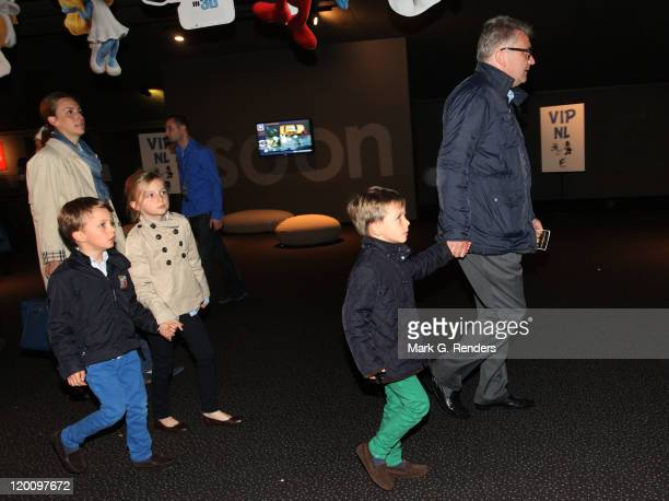 Princess Claire and and Prince Laurent of Belgium with their children Princess Louise Prince Nicolas and Prince Aymeric attend the Belgian premiere...