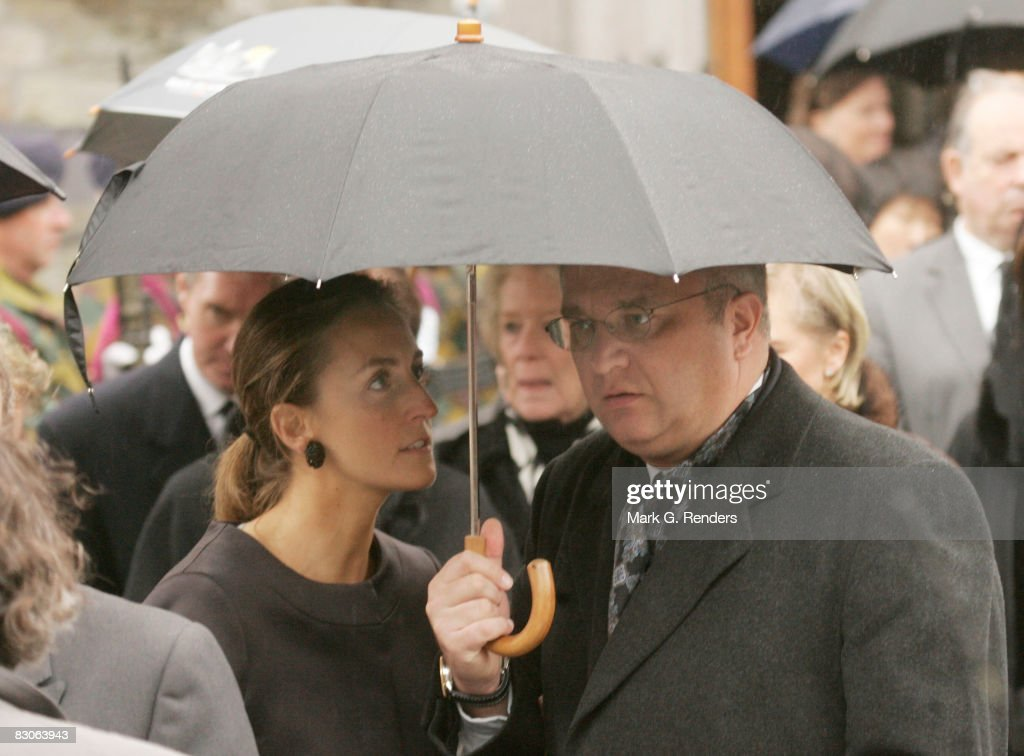 Princess Claire and Prince Laurent of Belgium attend the funeral of Patrick d'Udekem d'Acoz, Princess Mathilde's Father at Saint Pierre Church on September 30, 2008 in Bastogne, Belgium.