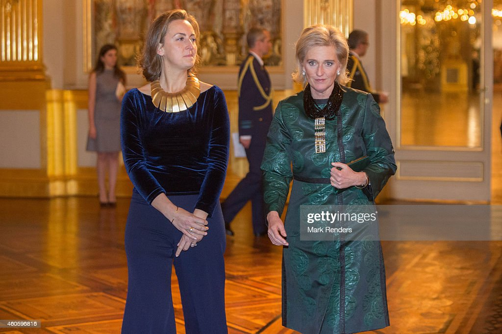 Princess Claire and Princess Astrid of Belgium attend the Xmas Concert at the Royal Palace on December 17, 2014 in Brussel, Belgium.