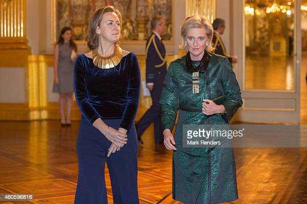 Princess Claire and Princess Astrid of Belgium attend the Xmas Concert at the Royal Palace on December 17 2014 in Brussel Belgium