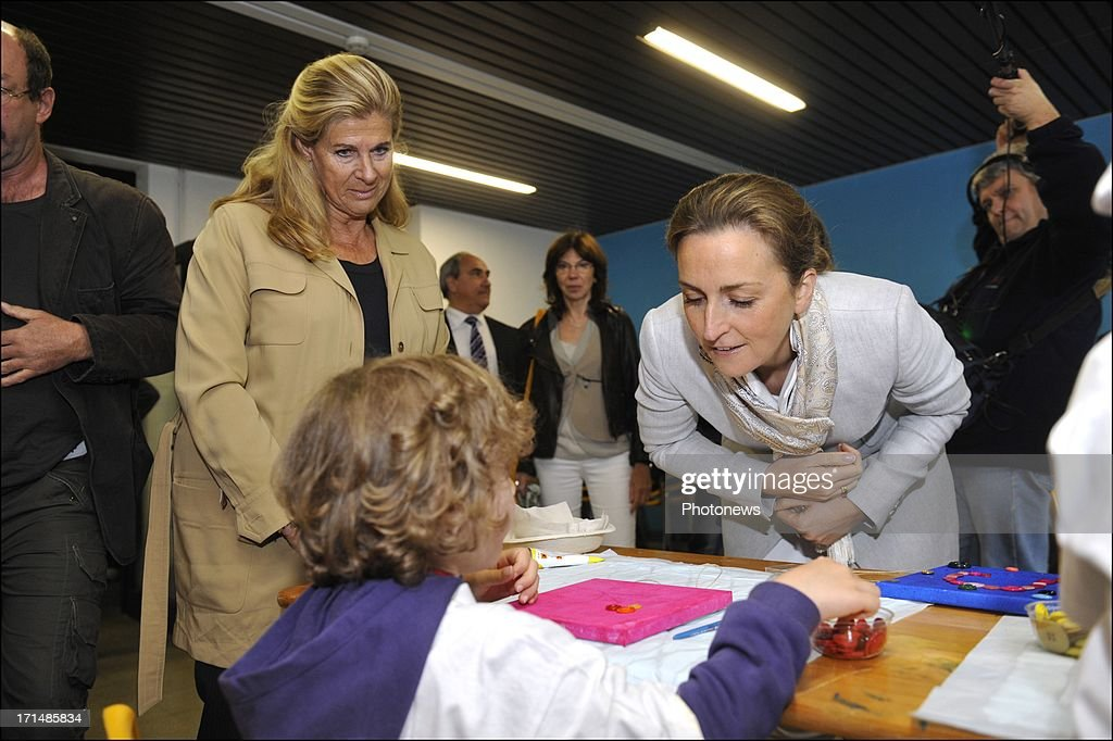 Princess Claire and Princess Lea visit children at Camp Tournesol on June 25, 2013 in Spa, Belgium. Camp Tournesol was created to help kids suffering from cancer.