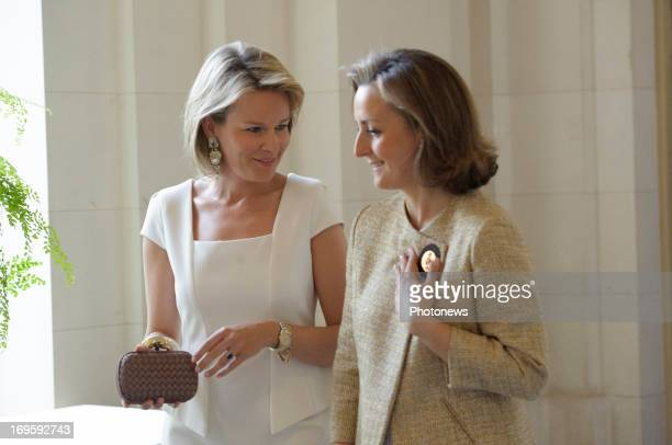 Princess Claire of Belgium and Princess Mathilde of Belgium attend a lunch for the jury of the Queen Elisabeth Musical Competition on on May 28 2013...
