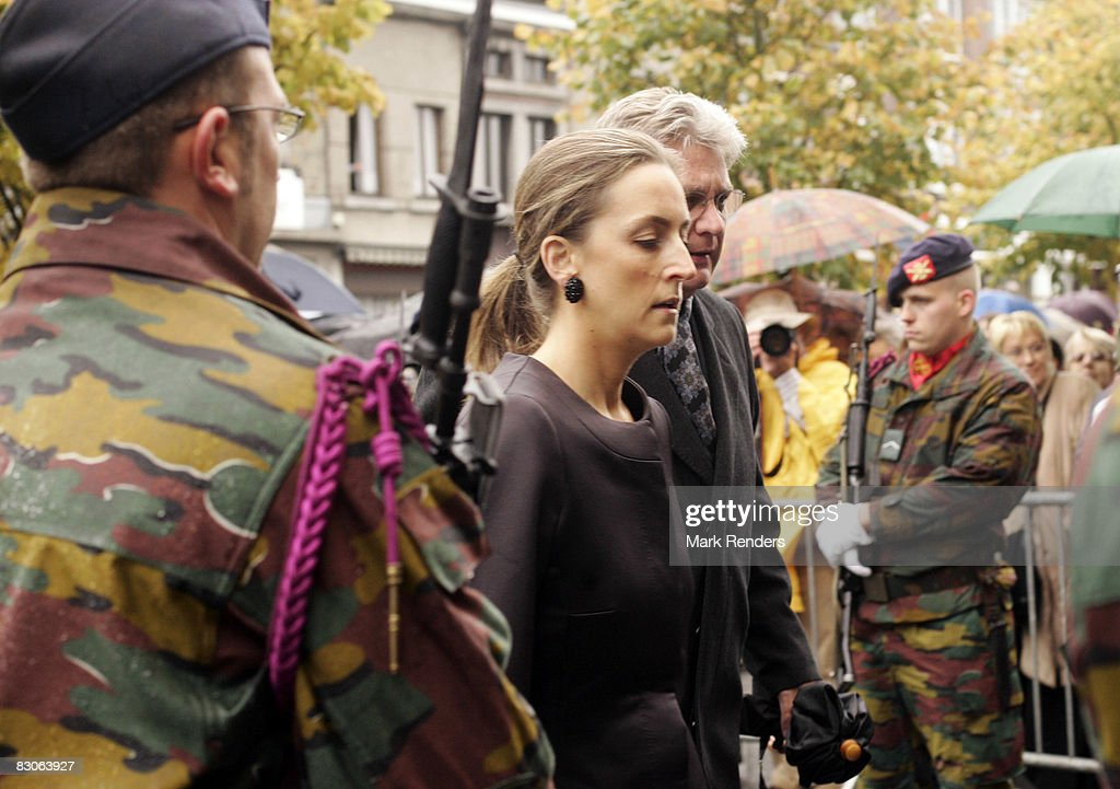Princess Claire of Belgium attends the funeral of Patrick d'Udekem d'Acoz, Princess Mathilde's father, at Saint Pierre Church on September 30, 2008 in Bastogne, Belgium.