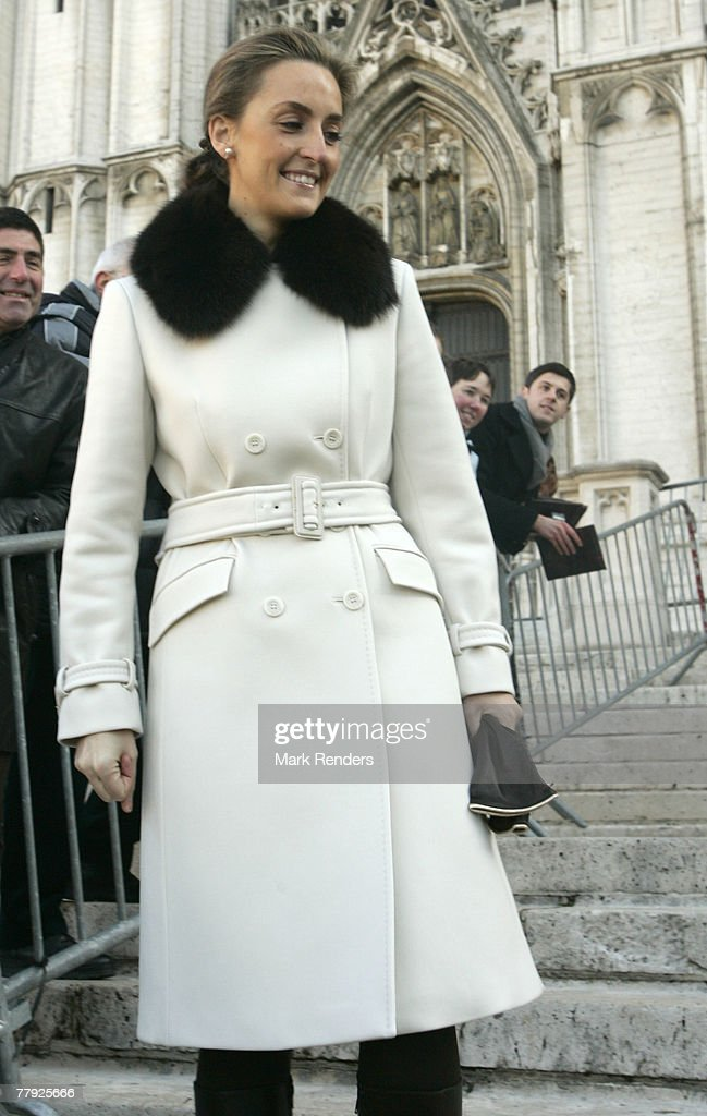 Princess Claire of Belgium greets the crowd near the Cathedrale St. G?dule after attending the Te Deum , on Kings Day on November 15, 2007 in Brussels, Belgium.