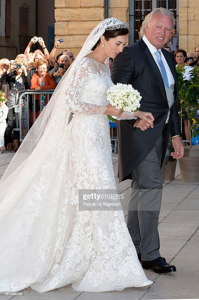 Princess Claire Of Luxembourg and her father Hartmut Lademacher arrive to the Religious Wedding Of Prince Felix Of Luxembourg and Claire Lademacher at the Basilique Sainte Marie-Madeleine on September 21, 2013 in Saint-Maximin-La-Sainte-Baume, France.
