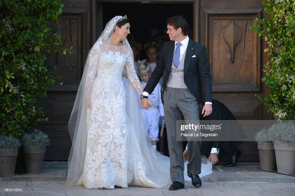 Princess Claire Of Luxembourg and Prince Felix Of Luxembourg depart their wedding ceremony at the Basilique Sainte Marie-Madeleine on September 21, 2013 in Saint-Maximin-La-Sainte-Baume, France.