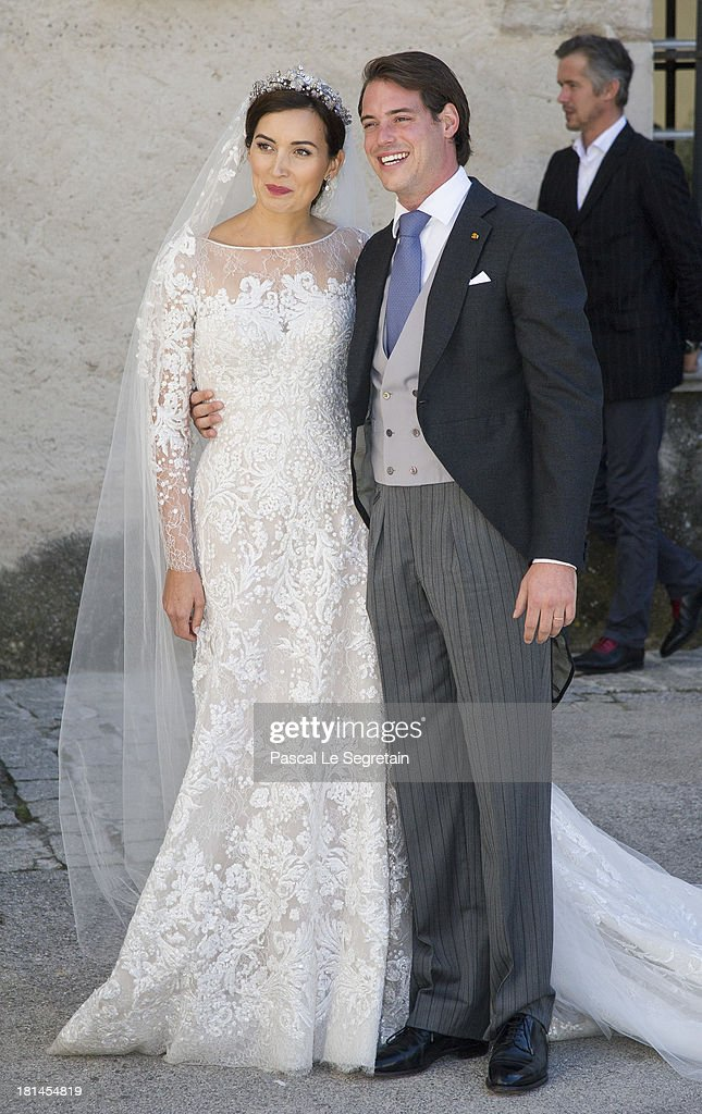 Princess Claire Of Luxembourg and Prince Felix Of Luxembourg depart from their wedding ceremony at the Basilique Sainte Marie-Madeleine on September 21, 2013 in Saint-Maximin-La-Sainte-Baume, France.