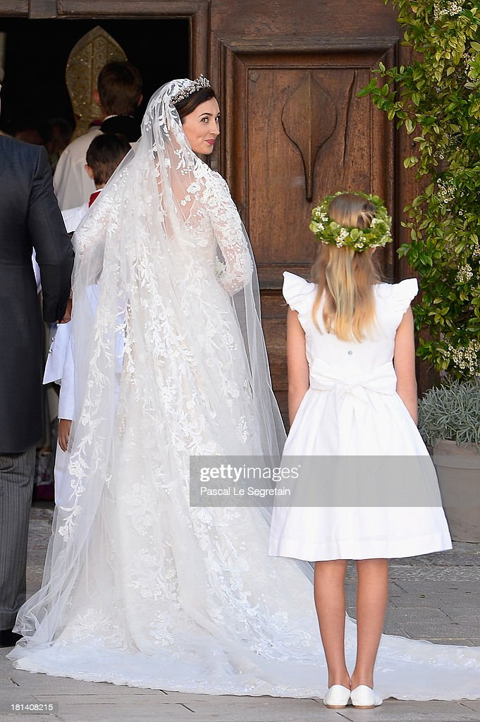 Princess Claire Of Luxembourg arrives to her Religious Wedding to Prince Felix Of Luxembourg at the Basilique Sainte Marie-Madeleine on September 21, 2013 in Saint-Maximin-La-Sainte-Baume, France.