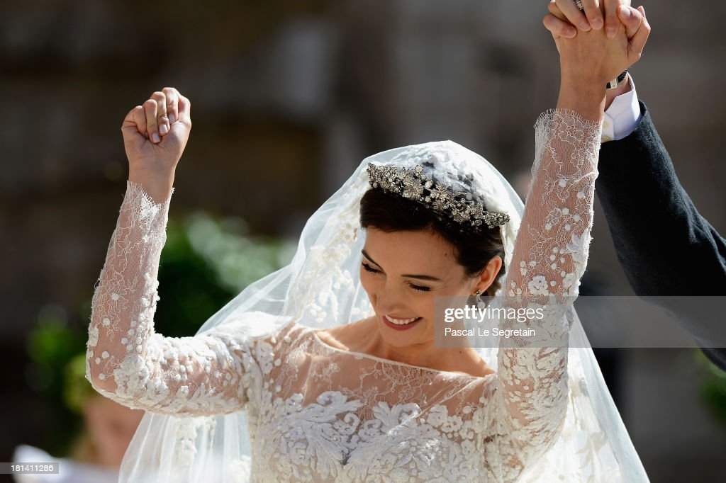 Princess Claire Of Luxembourg departs from her wedding ceremony at the Basilique Sainte Marie-Madeleine on September 21, 2013 in Saint-Maximin-La-Sainte-Baume, France.