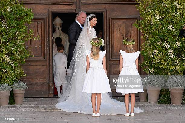 Princess Claire Of Luxembourg her father Hartmut Lademacher arrive to the Religious Wedding Of Prince Felix Of Luxembourg Claire Lademacher at the...