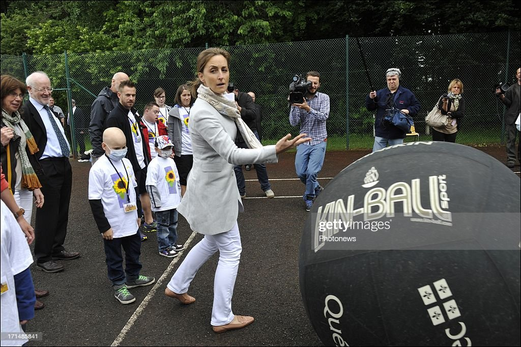 Princess Claire plays with sick children at Camp Tournesol on June 25, 2013 in Spa, Belgium. Camp Tournesol was created to help kids suffering from cancer.