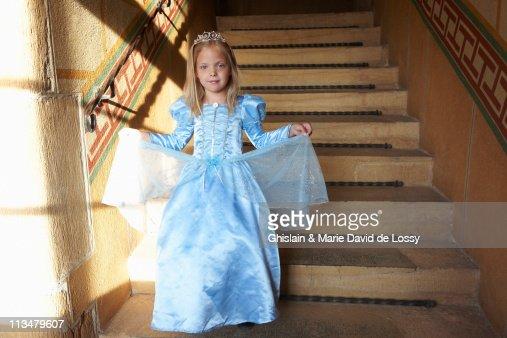 Princess climbing down the stairs