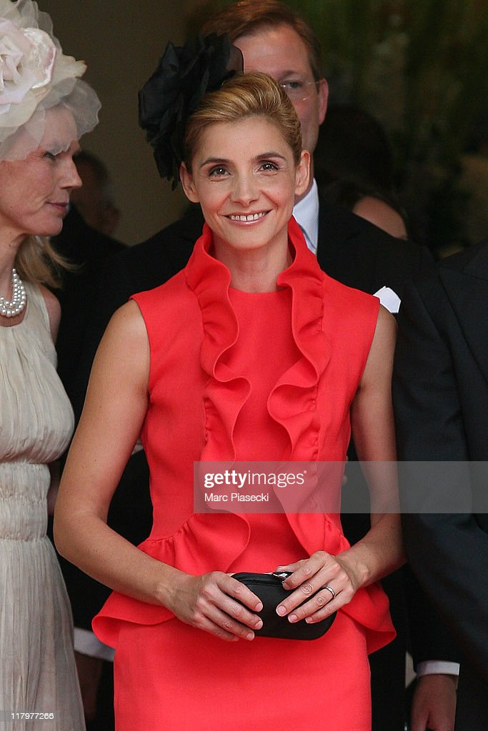 Princess Clotilde Courau is sighted leaving the 'Hermitage' hotel to attend the Royal Wedding of Prince Albert II of Monaco to Charlene Wittstock in the main courtyard at on July 2, 2011 in Monaco, Monaco.