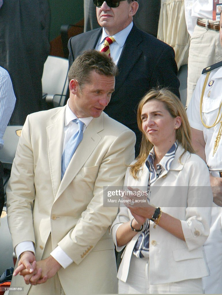 Princess Cristina and her husband <a gi-track='captionPersonalityLinkClicked' href=/galleries/search?phrase=Inaki+Urdangarin&family=editorial&specificpeople=159330 ng-click='$event.stopPropagation()'>Inaki Urdangarin</a> attend the men's final of the French Tennis Open at Roland Garros Arena, in Paris, France on June 11, 2006.
