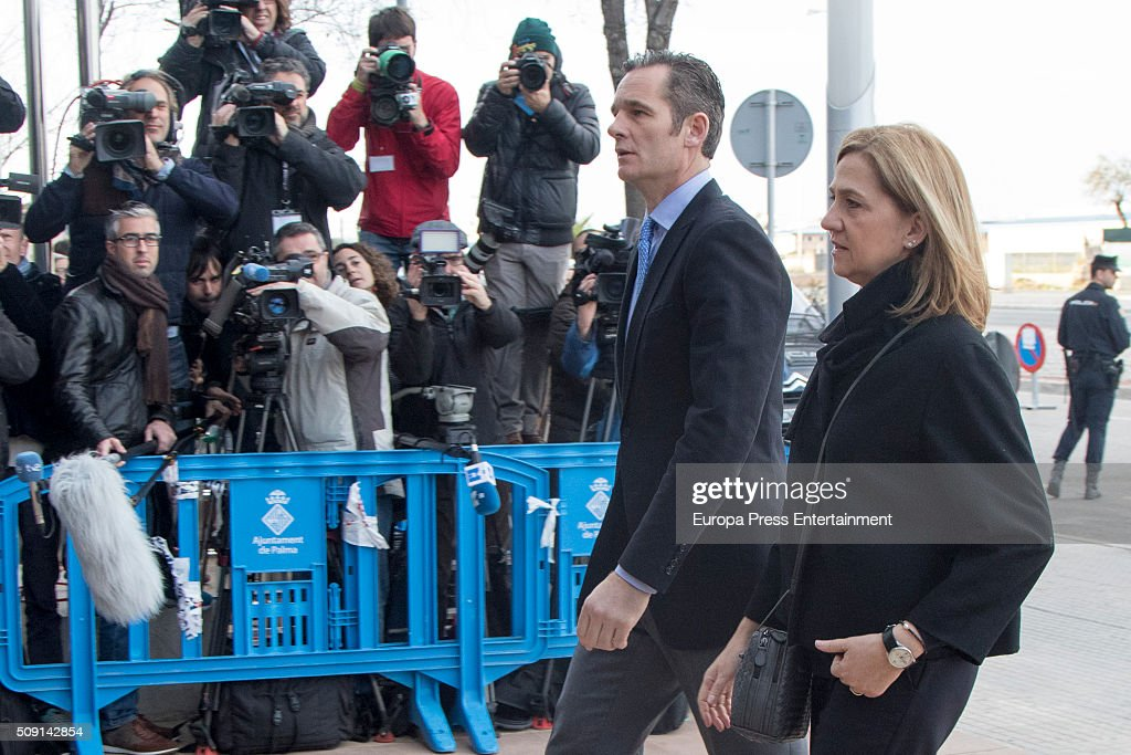 Princess Cristina de Borbon and her husband <a gi-track='captionPersonalityLinkClicked' href=/galleries/search?phrase=Inaki+Urdangarin&family=editorial&specificpeople=159330 ng-click='$event.stopPropagation()'>Inaki Urdangarin</a> arrive at the courtroom at the Balearic School of Public Administration for summary proceedings on February 09, 2016 in Palma de Mallorca, Spain. Princess Cristina of Spain, sister of King Felipe VI of Spain, faces a tax fraud trial over alleged links to business dealings of her husband, <a gi-track='captionPersonalityLinkClicked' href=/galleries/search?phrase=Inaki+Urdangarin&family=editorial&specificpeople=159330 ng-click='$event.stopPropagation()'>Inaki Urdangarin</a> Princess Cristina co-owned with her husband a company called Aizoon alleged to be one of the companies used by the non-profit foundation named 'Instituto NOOS', headed by <a gi-track='captionPersonalityLinkClicked' href=/galleries/search?phrase=Inaki+Urdangarin&family=editorial&specificpeople=159330 ng-click='$event.stopPropagation()'>Inaki Urdangarin</a> to misuse 5.6 million euro of public funds which were allocated to organise sports and tourism events.