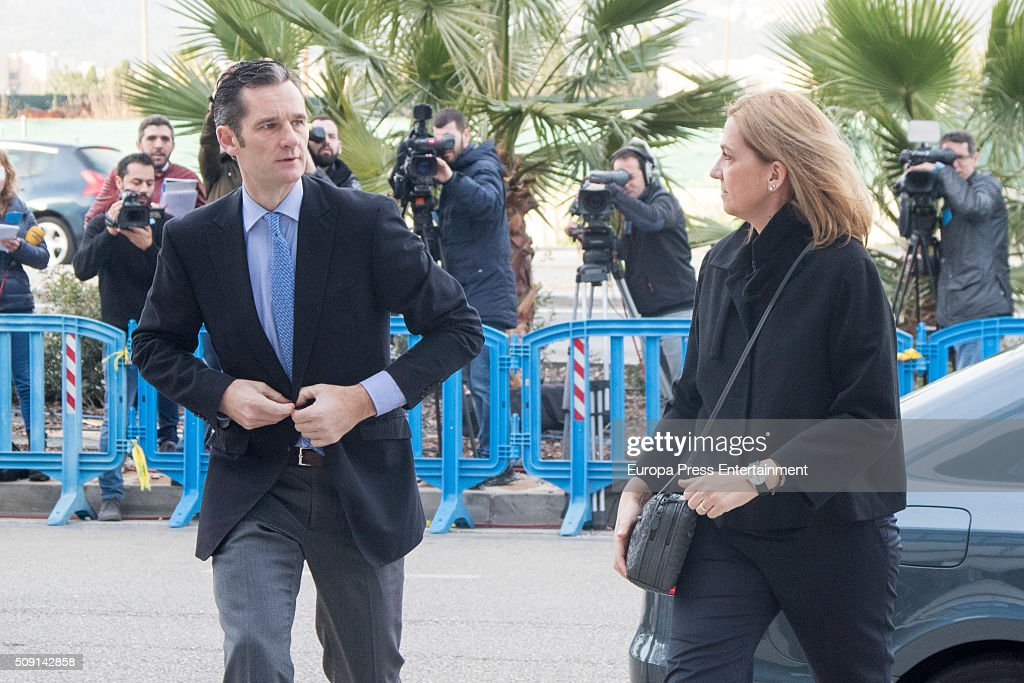 Princess Cristina de Borbon and her husband Inaki Urdangarin arrive at the courtroom at the Balearic School of Public Administration for summary proceedings on February 09, 2016 in Palma de Mallorca, Spain. Princess Cristina of Spain, sister of King Felipe VI of Spain, faces a tax fraud trial over alleged links to business dealings of her husband, Inaki Urdangarin Princess Cristina co-owned with her husband a company called Aizoon alleged to be one of the companies used by the non-profit foundation named 'Instituto NOOS', headed by Inaki Urdangarin to misuse 5.6 million euro of public funds which were allocated to organise sports and tourism events.