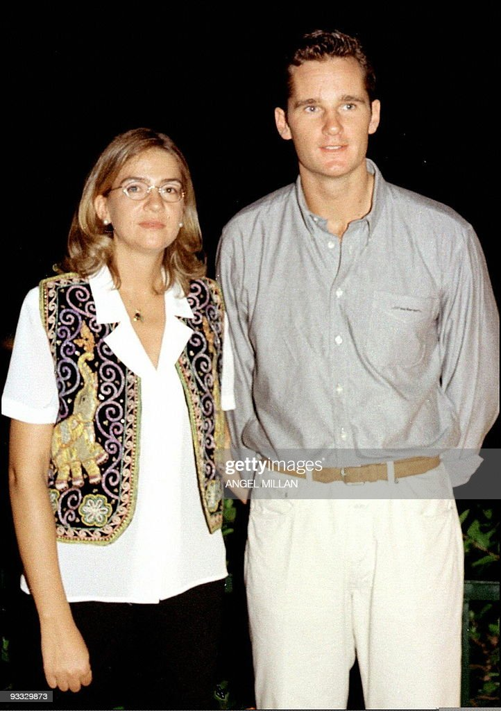 Princess Cristina of Borbon (L) and the groom Inaki Urdangarin pose before of the stag party, late 02 October in Barcelona. The Princess and her fiancee will marry 04 October.