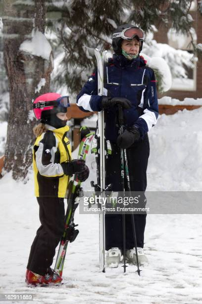 Princess Cristina of Spain and her daughter Irene Urdangarin are seen skiing on February 9 2013 in Baqueira Beret Spain