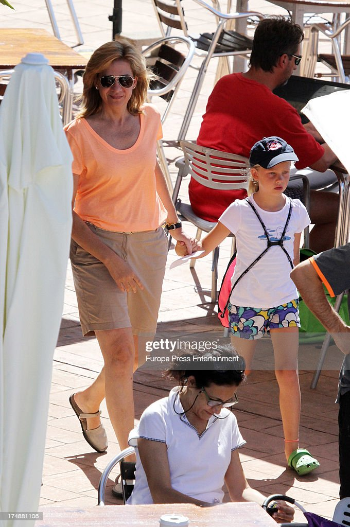 <a gi-track='captionPersonalityLinkClicked' href=/galleries/search?phrase=Princess+Cristina+of+Spain&family=editorial&specificpeople=160232 ng-click='$event.stopPropagation()'>Princess Cristina of Spain</a> and her daughter Irene Urdangarin are seen in Mallorca on July 29, 2013 in Mallorca, Spain. <a gi-track='captionPersonalityLinkClicked' href=/galleries/search?phrase=Princess+Cristina+of+Spain&family=editorial&specificpeople=160232 ng-click='$event.stopPropagation()'>Princess Cristina of Spain</a> comes back to Mallorca after two years.