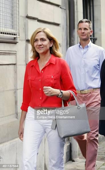 Princess Cristina of Spain and her husband Inaki Urdangarin are seen on June 23 2014 in Geneva Switzerland