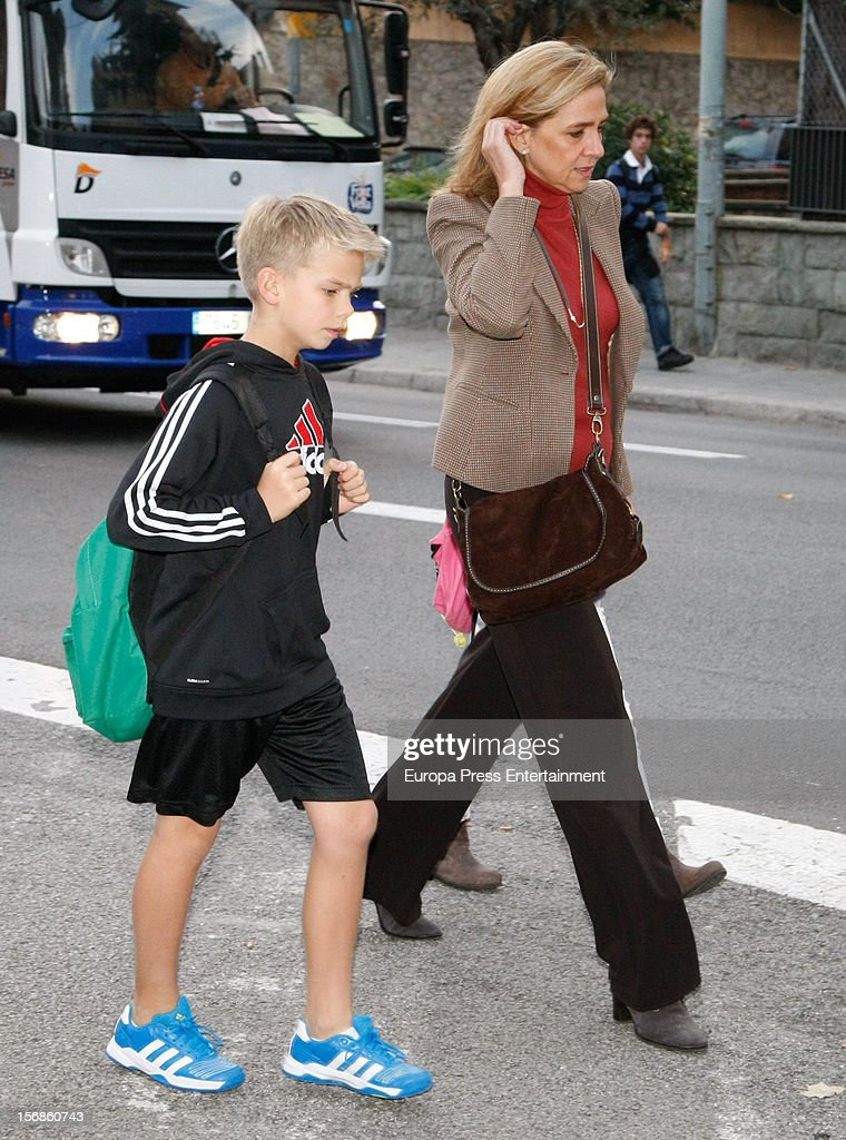 Princess Cristina of Spain and her son Miguel Urdangarin are seen on November 22, 2012 in Barcelona, Spain.