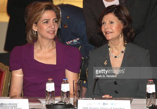 Princess Cristina of Spain and Queen Silvia of Sweden attend a conference dealing with the issue of 'Vulnerable children on the run' at the Royal...