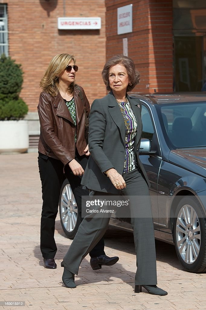Princess Cristina of Spain (L) and Queen Sofia of Spain (R) visit King Juan Carlos of Spain at La Milagrosa Hospital on March 3, 2013 in Madrid, Spain. King Juan Carlos of Spain goes under surgery for a lower back disc hernia at La Milagrosa Hospital on March 3, 2013 in Madrid, Spain. He had hip surgery last November. The King has had several other health issues in the past two years, including knee surgery and the removal of a benign lung tumor.