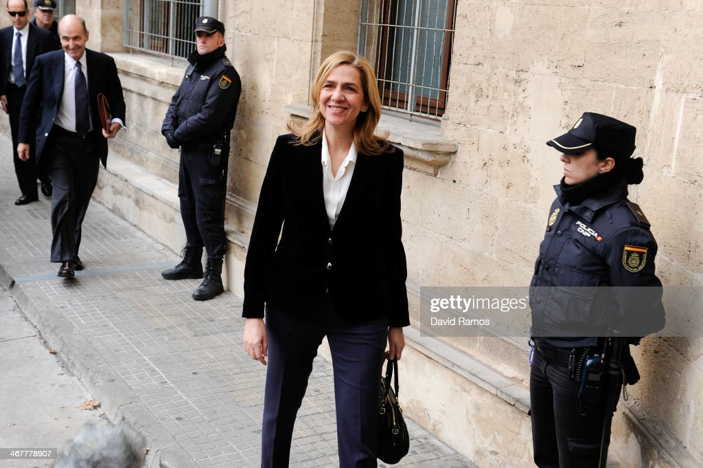 Princess Cristina of Spain arrives at the Palma de Mallorca Couthouse to give evidence during the 'Noos Trial' on February 8 2014 in Palma de...