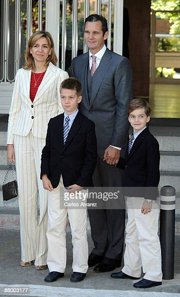 Princess Cristina of Spain her husband Inaki Urdangarin and sons Juan Valentin and Pablo Nicolas attend Victoria Federica de Marichalar y de Borbon...