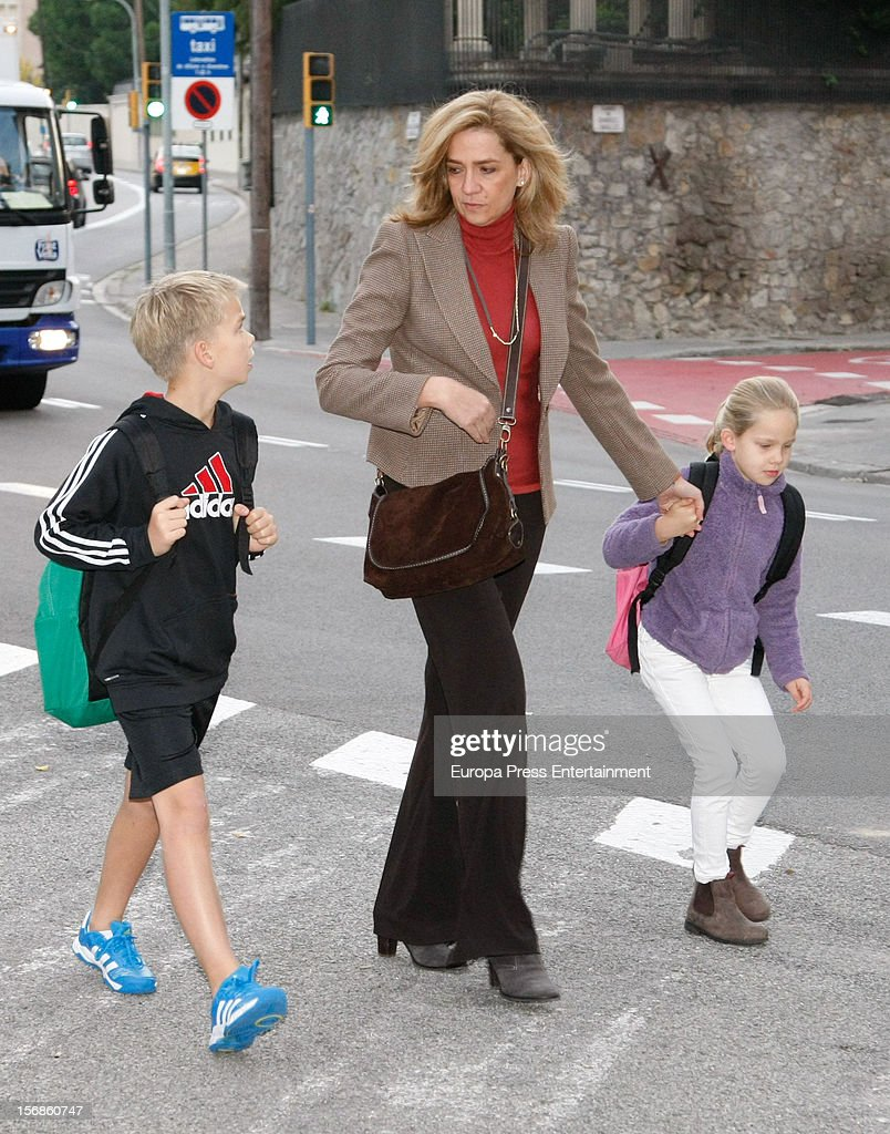 <a gi-track='captionPersonalityLinkClicked' href=/galleries/search?phrase=Princess+Cristina+of+Spain&family=editorial&specificpeople=160232 ng-click='$event.stopPropagation()'>Princess Cristina of Spain</a>, her son Miguel Urdangarin and her daughter Irene Urdangarin are seen on November 22, 2012 in Barcelona, Spain.