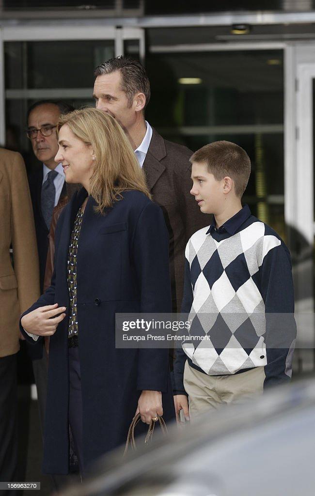 Princess Cristina of Spain, Inaki Urdangarin and their son Juan Valentin Urdangarin visit King Juan Carlos of Spain on November 25, 2012 in Madrid, Spain. King Juan Carlos of Spain underwent an operation on his left hip.