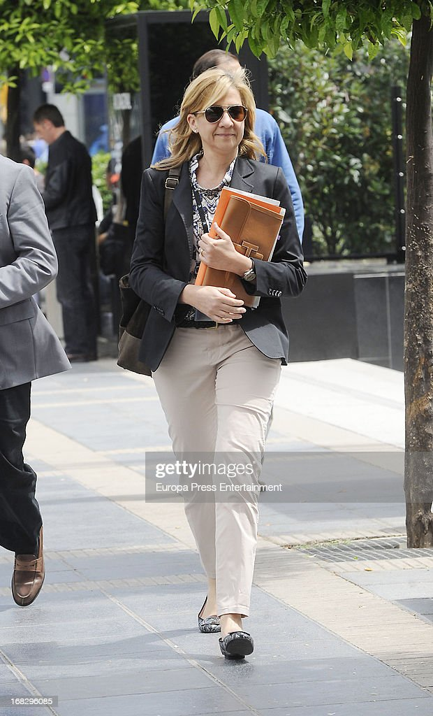 <a gi-track='captionPersonalityLinkClicked' href=/galleries/search?phrase=Princess+Cristina+of+Spain&family=editorial&specificpeople=160232 ng-click='$event.stopPropagation()'>Princess Cristina of Spain</a> is seen leaving La Caixa Headquarters on May 8, 2013 in Barcelona, Spain. Princess Cristina will not have to appear in court as a suspect in the corruption case involving the Noos Foundation, which was run by her husband, Inaki Urdangarin, a court ruled today.