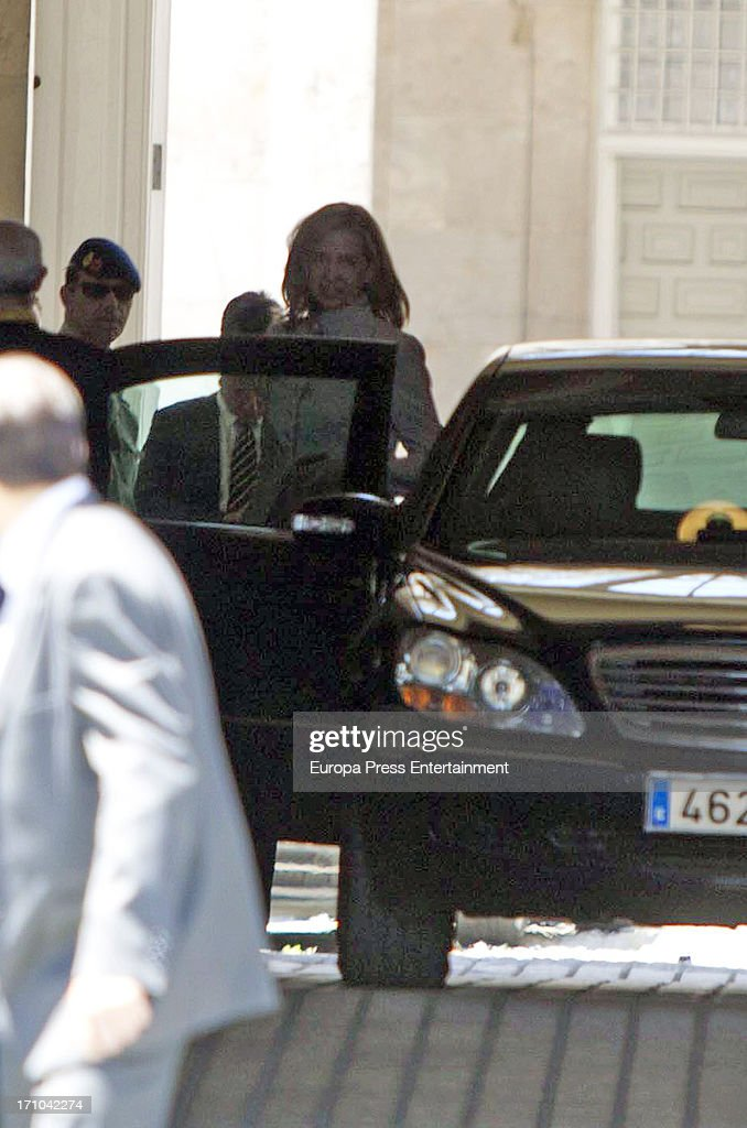 <a gi-track='captionPersonalityLinkClicked' href=/galleries/search?phrase=Princess+Cristina+of+Spain&family=editorial&specificpeople=160232 ng-click='$event.stopPropagation()'>Princess Cristina of Spain</a> is seen leaving Royal Palace after the mass commemorating the centenary of the birth of Don Juan de Borbon on June 20, 2013 in Madrid, Spain.