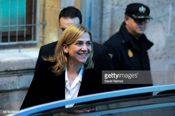 Princess Cristina of Spain leaves the Palma de Mallorca Couthouse after giving evidence during the 'Noos Trial' on February 8 2014 in Palma de...