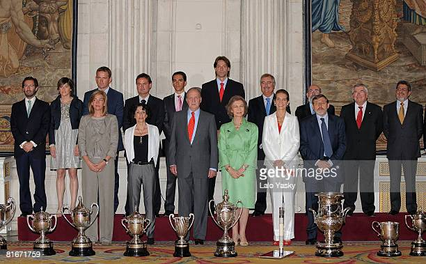 Princess Cristina of Spain Minister Mercedes Cabrera King Juan Carlos of Spain Queen Sofia of Spain Princess Elena of Spain and Jaime Lissavetsky...