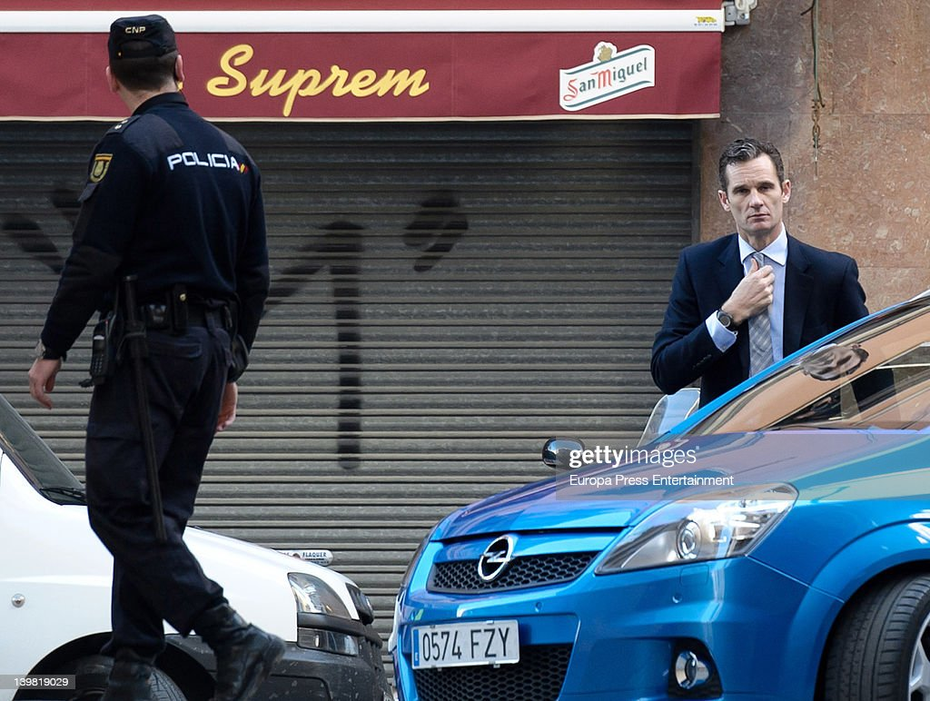Princess Cristina of Spain's husband Inaki Urdangarin (R) returns after lunch to give evidence during the 'Palma Arena trial' at the courthouse on February 25, 2012 in Palma de Mallorca, Spain. The son-in-law of King Juan Carlos I of Spain, Inaki Urdangarin, Duke of Palma has been charged due to the investigation over claims that he misused millions of euros of public funds.