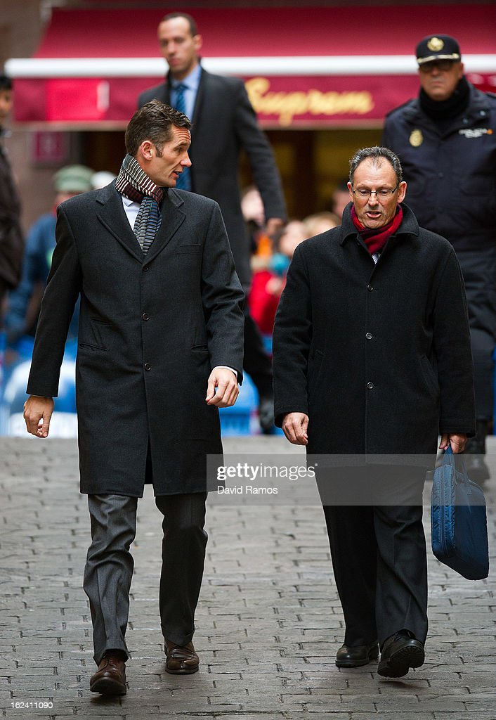 Princess Cristina's husband, Inaki Urdangarin (L) and his lawyer Mario Pascual Vives arrive at the courthouse of Palma de Mallorca to give evidence during the during the 'Palma Arena trial' on February 23, 2013 in Palma de Mallorca, Spain. The son-in-law of King Juan Carlos of Spain, Inaki Urdangarin, Duke of Palma will testify in court over allegations that he misused millions of euros of public funds, allocated to organise sports and tourism events, during his time a chairman of a non-profit foundation from 2004 to 2006. Public prosecutors suspect the non-profit foundation named 'Instituto Noos', headed by Urdangarin, of siphoning away funds from public contracts awarded to companies run by Urdangarin and his business partners.