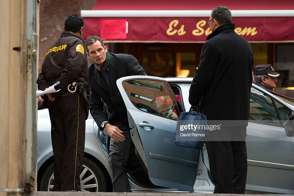 Princess Cristina's husband, Inaki Urdangarin arrives at the courthouse of Palma de Mallorca to give evidence during the during the 'Palma Arena trial' on February 23, 2013 in Palma de Mallorca, Spain. The son-in-law of King Juan Carlos of Spain, Inaki Urdangarin, Duke of Palma will testify in court over allegations that he misused millions of euros of public funds, allocated to organise sports and tourism events, during his time a chairman of a non-profit foundation from 2004 to 2006. Public prosecutors suspect the non-profit foundation named 'Instituto Noos', headed by Urdangarin, of siphoning away funds from public contracts awarded to companies run by Urdangarin and his business partners.