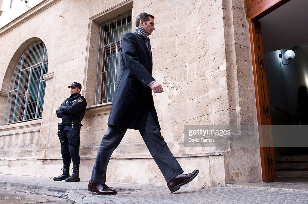 Princess Cristina's husband, Inaki Urdangarin arrives at the courthouse of Palma de Mallorca to give evidence during the during the 'Palma Arena trial' on February 23, 2013 in Palma de Mallorca, Spain. The son-in-law of King Juan Carlos of Spain, Inaki Urdangarin, Duke of Palma will testify in court over allegations that he misused millions of euros of public funds, allocated to organise sports and tourism events, during his time a chairman of a non-profit foundation from 2004 to 2006. Public prosecutors suspect the non-profit foundation named 'Instituo Noos', headed by Urdangarin, of siphoning away funds from public contracts awarded to companies run by Urdangarin and his business partners.