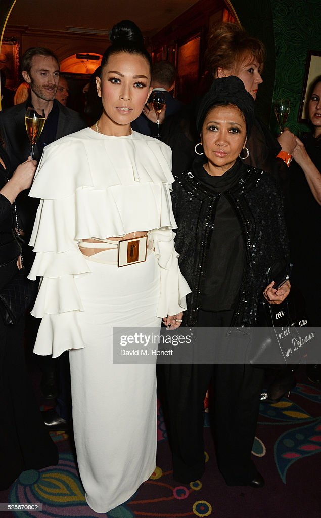 Princess Datin Ezurin of Malaysia (L) and Datin Magie Abang Saufi attend a private dinner hosted by Fawaz Gruosi, founder of de Grisogono, at Annabels on April 28, 2016 in London, England.