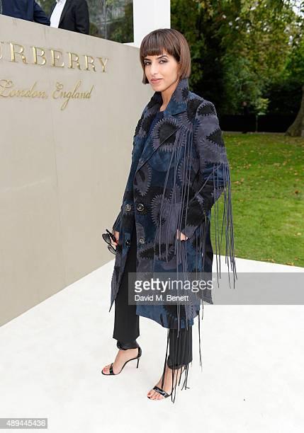 Princess Deena Aljuhani Abdulaziz arrives at Burberry Womenswear Spring/Summer 2016 show during London Fashion Week at Kensington Gardens on...