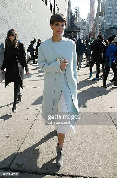 Princess Deena Aljuhani Abdulaziz is seen arriving at the Calvin Klein Collection during MercedesBenz Fashion Week Fall 2015 at Spring Studios on...