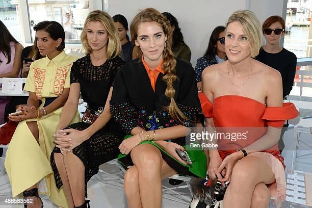 Princess Deena Aljuhani Abdulaziz Lauren Remington Platt and Sofie Valkiers attend the Delpozo Fashion Show during Spring 2016 New York Fashion Week...