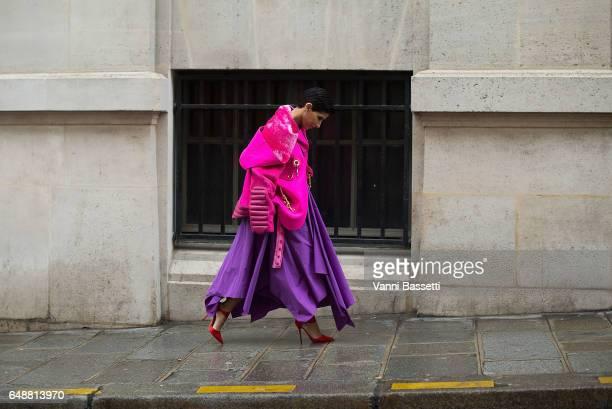 Princess Deena Aljuhani Abdulaziz leaves after the Giambattista Valli show at the Hotel Potocki during Paris Fashion Week Womenswear FW 17/18 on...